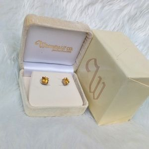 Jewelry - 14k White Gold Citrine Stud Earrings